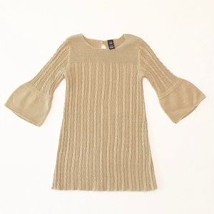 GAP Gold Cable Knit Sweater Dress W/Bell sleeves